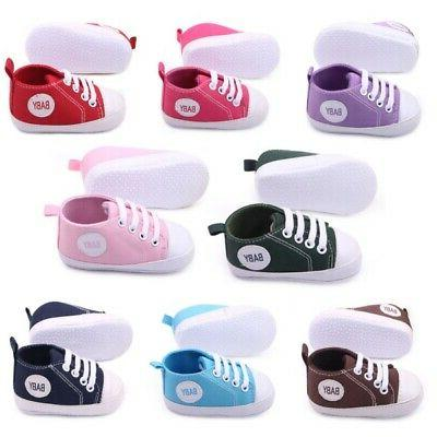 Toddler Baby Boy Girl Soft Sole Crib Shoes Pram Sneakers New