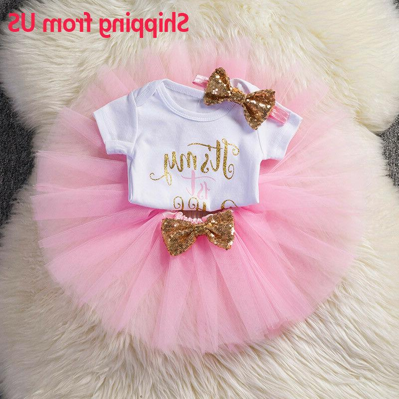 Baby Girls 1st First Birthday Dress Romper Tutu Skirt Headba