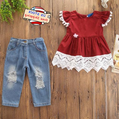 Kids Baby Girl Lace Short Sleeve T-Shirt Tops+Ripped Jeans P