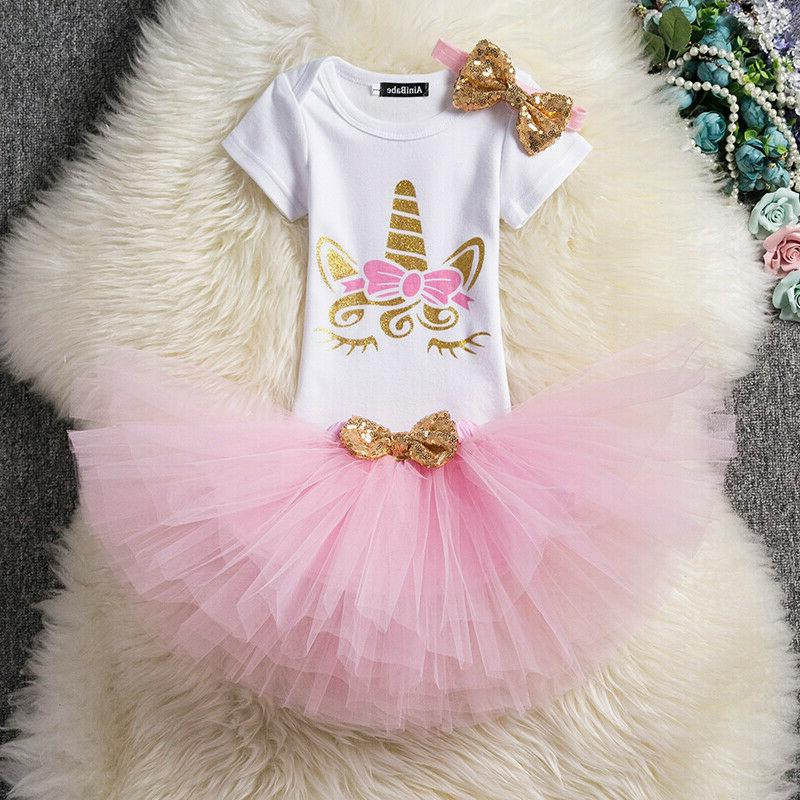 Baby Girl 1st 2nd Birthday Unicorn Party Outfits Sets Tutu T