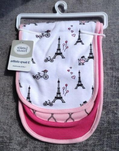 new baby girl 3 pack burp cloths