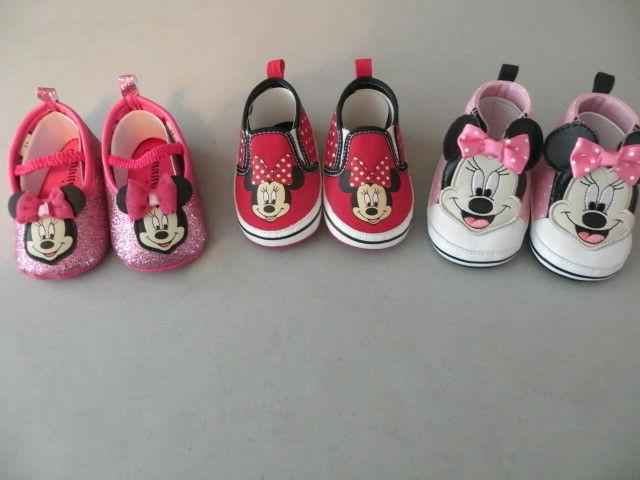 NEW DISNEY BABY GIRL MINNIE MOUSE SNEAKERS CRIB SHOES CHOICE OF 3 SIZE 6-9M