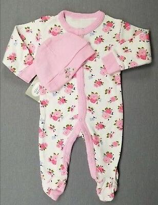 NEW! LUVABLE FRIENDS BABY GIRL 2PC FOOTED OUTFIT