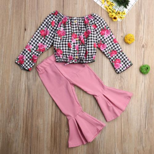 New Toddler Kids Baby Girl Tops Pants Outfits US