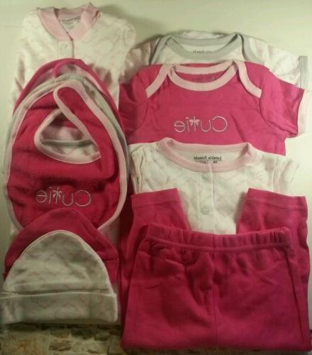 Newborn Luvable Friends Baby Girl 11 pc Clothing Set 0-6 mon