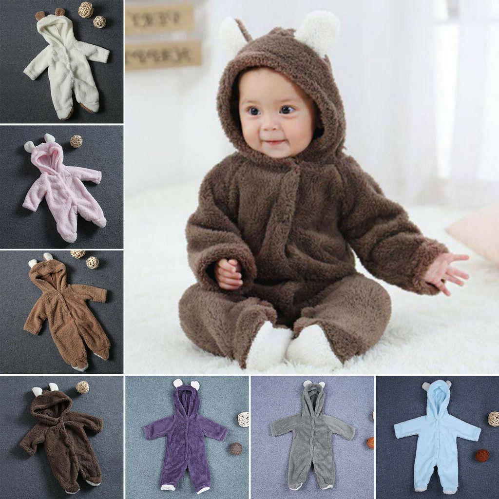 Newborn Baby Girl Bear Romper Jumpsuit Outfits Warm
