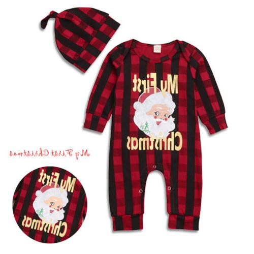 Newborn Christmas Claus Romper +Hat Clothes