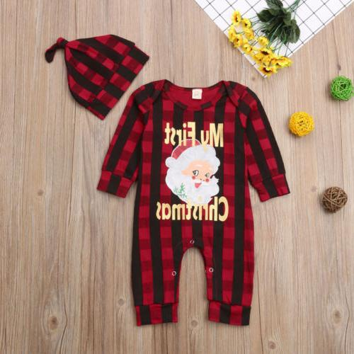 Newborn Baby Girl Boy Christmas Romper +Hat
