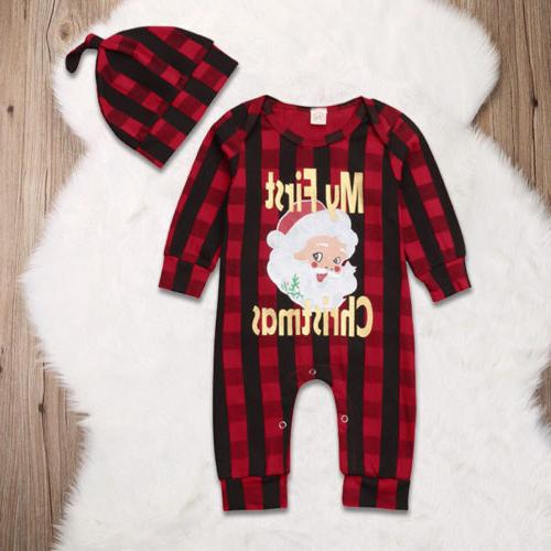 newborn baby girl boy christmas costume santa