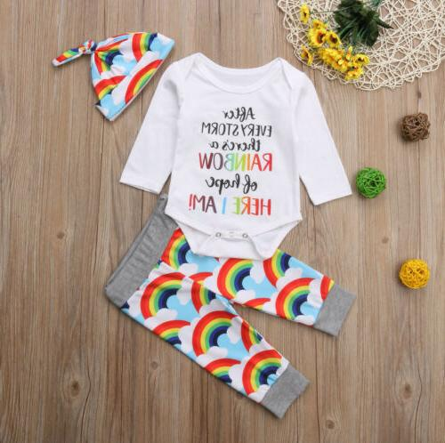 Newborn Rainbow Romper Jumpsuit+Pants Hat Clothes Set