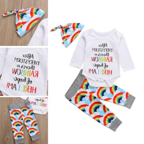 Rainbow Romper Tops Hat Clothes Set