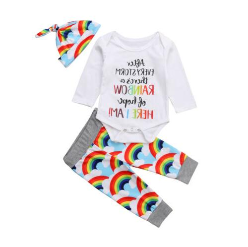 Newborn Baby Girl Boy Rainbow Romper Hat Outfits