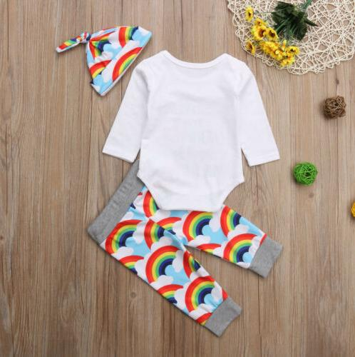 Newborn Girl Boy Rainbow Romper Tops Jumpsuit+Pants Hat Outfits