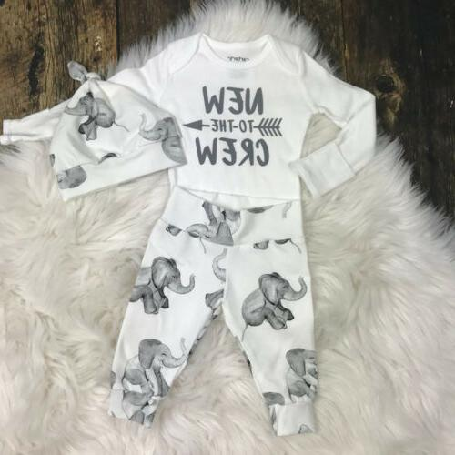 Newborn Tops Romper Elephant Hat