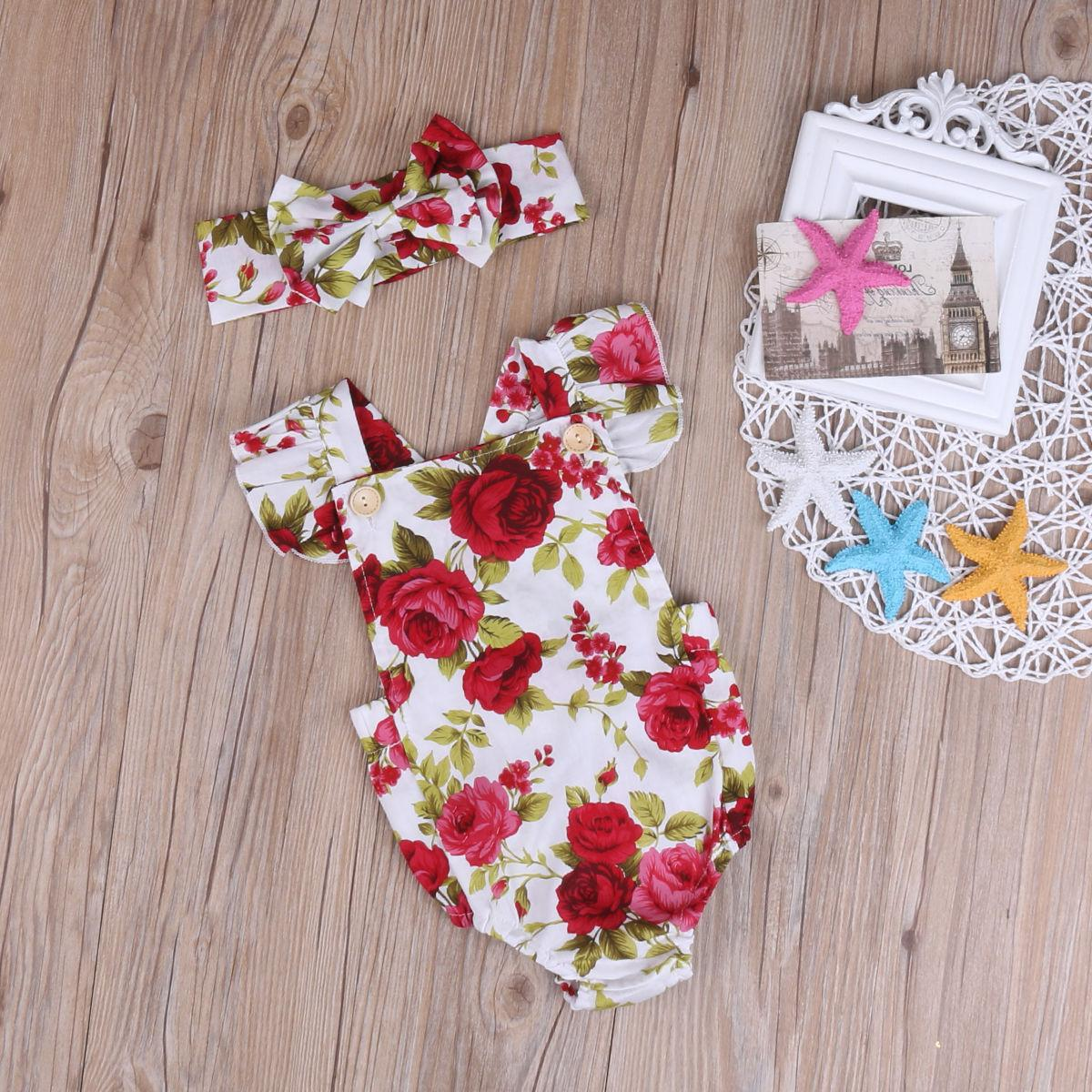 Newborn Baby Flower Jumpsuit Bodysuit + Headband