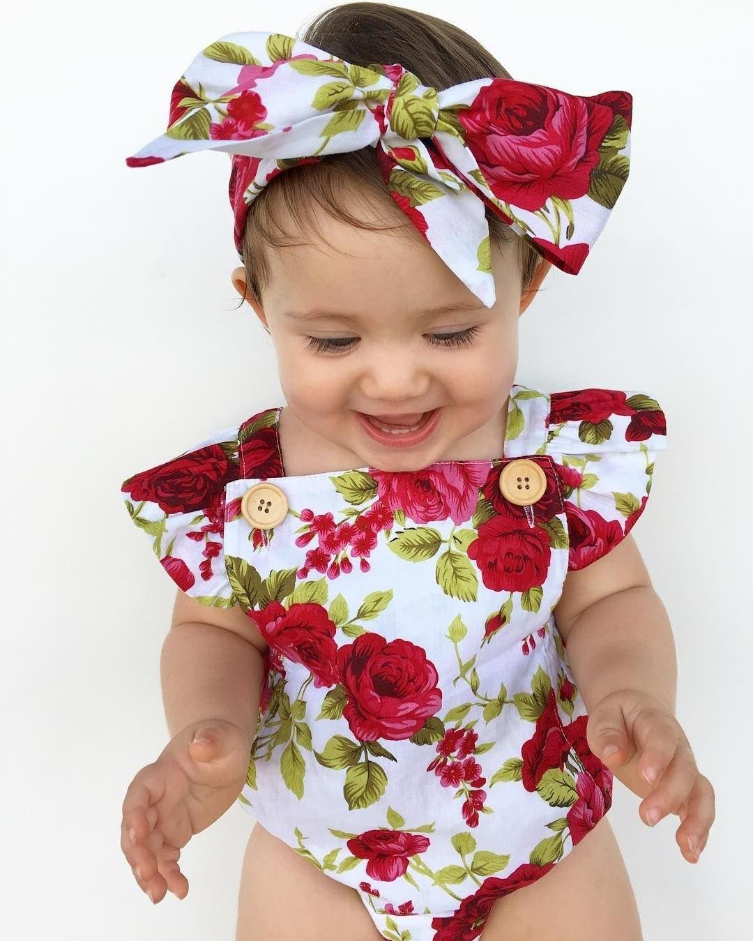 Newborn Baby Flower Bodysuit + Outfits US