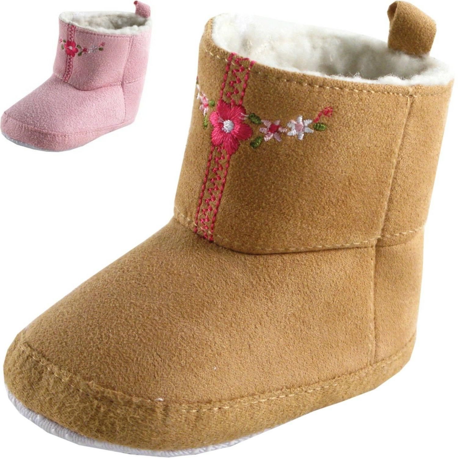 newborn baby girl embroidered suede boots