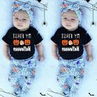 Newborn Baby Girl Kid My 1st Halloween Romper Hat Pants Outf