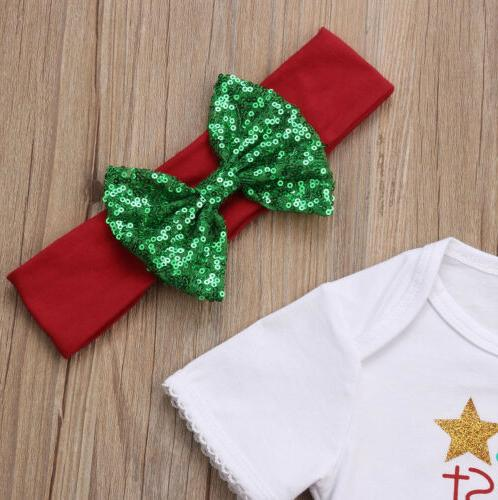 Newborn Girl First Christmas Pants Outfits