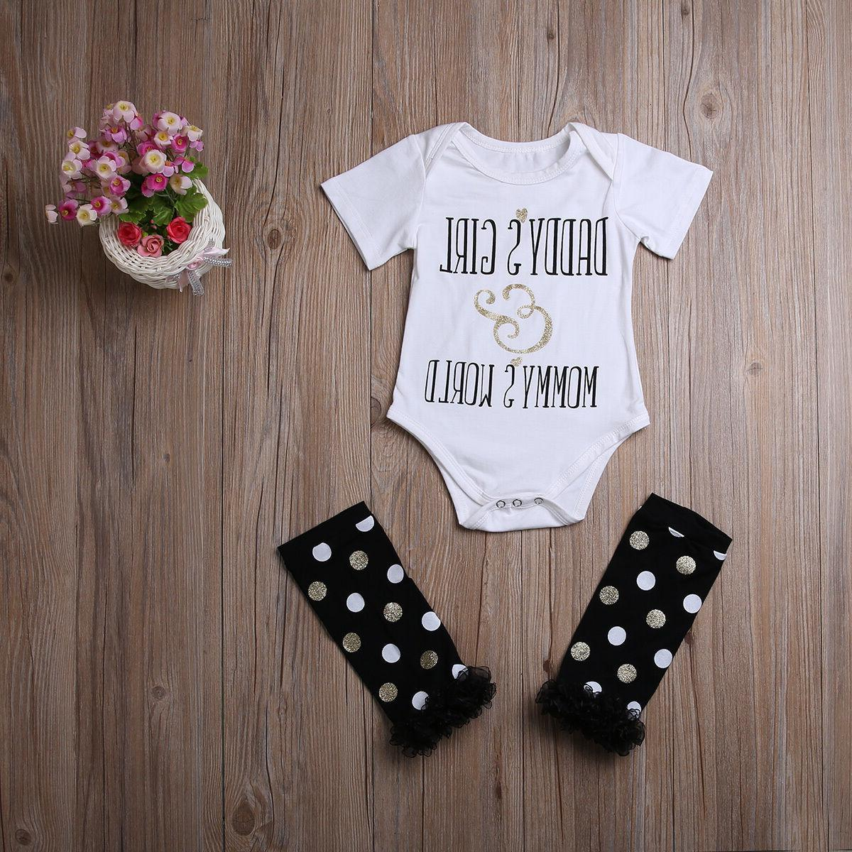Newborn Girl Romper+Leg Warmers Bow Outfits Clothes