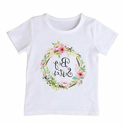 Newborn Baby Girls Romper Tops White Shirt Sisters Outfits C