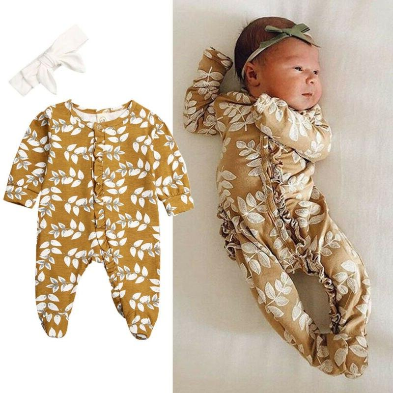 Newborn <font><b>Girl</b></font> Footies Floral Casual One-pieces Jumpsuit