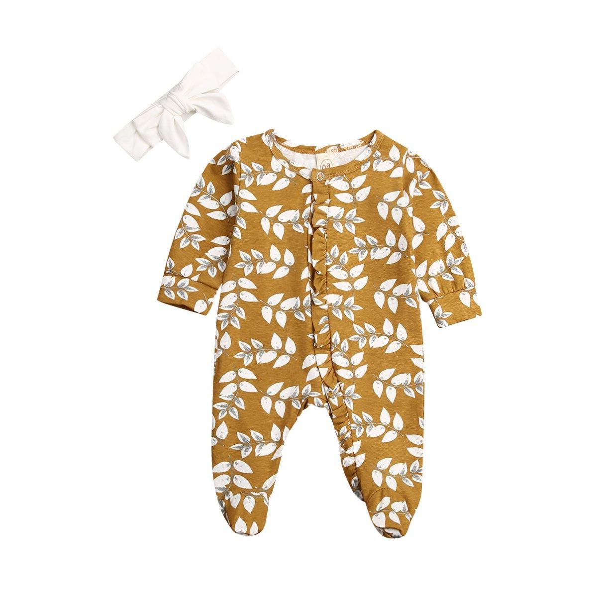 Newborn Kid <font><b>Baby</b></font> <font><b>Girl</b></font> Long Footies Casual