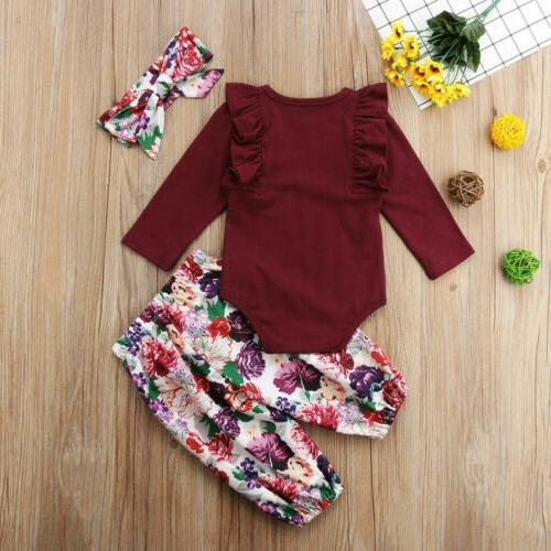 Canis Baby Girl Tops Pants Headband Outfits Clothes
