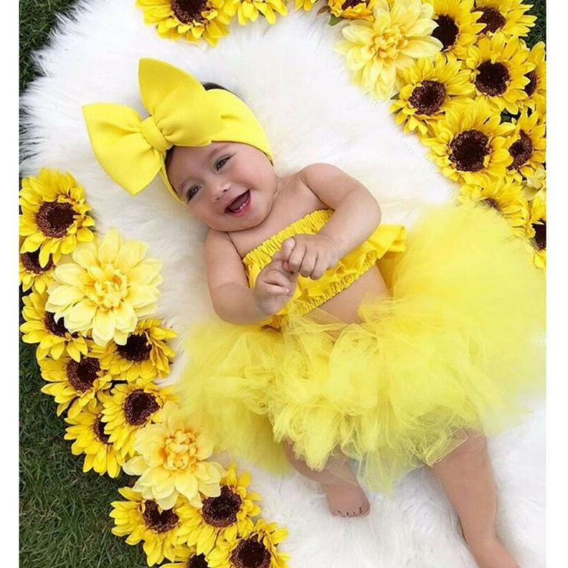 3PCS Newborn Girl Outfits Romper Dress Jumpsuit