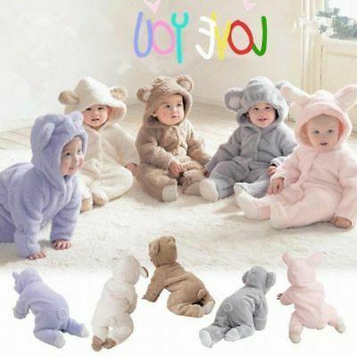 newborn infant boy girl romper hooded baby