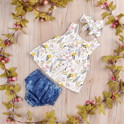 Newborn Infant Baby Girl Crop Top+Shorts Pants Summer Clothes