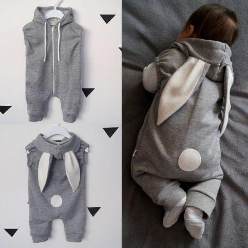Newborn Kids Girl Rabbit Hooded Jumpsuit Clothes
