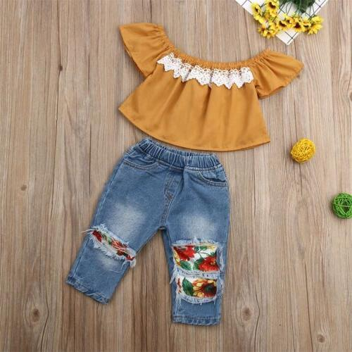 Newborn Toddler Baby Girl off Tops+Denim Sunflower Pants Set