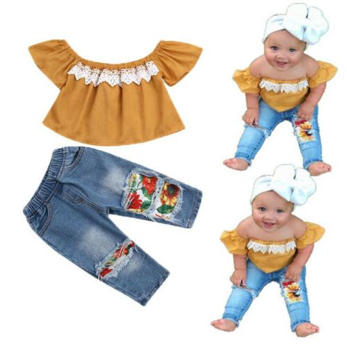 Newborn Toddler Baby off Tops+Denim Pants