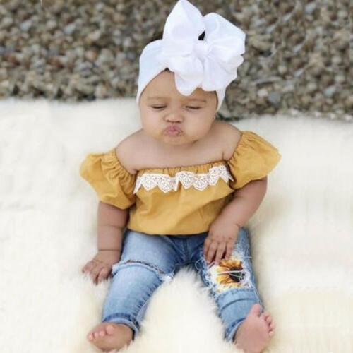 Newborn Baby Girl off Tops+Denim Pants Set