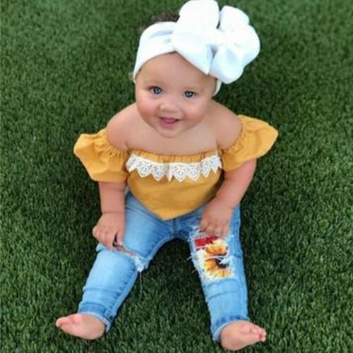 Newborn Toddler Baby off Tops+Denim Pants Set