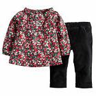 NWT Carter's Red Floral Top Black Corduroy Pants Outfit 12 M
