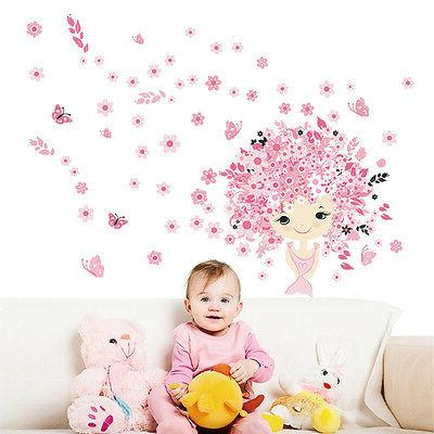 Pink Flower Fairy Baby Girl & Butterfly Wall Sticker Princes
