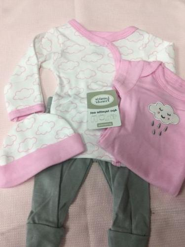 preemie baby girl 4 pc clouds