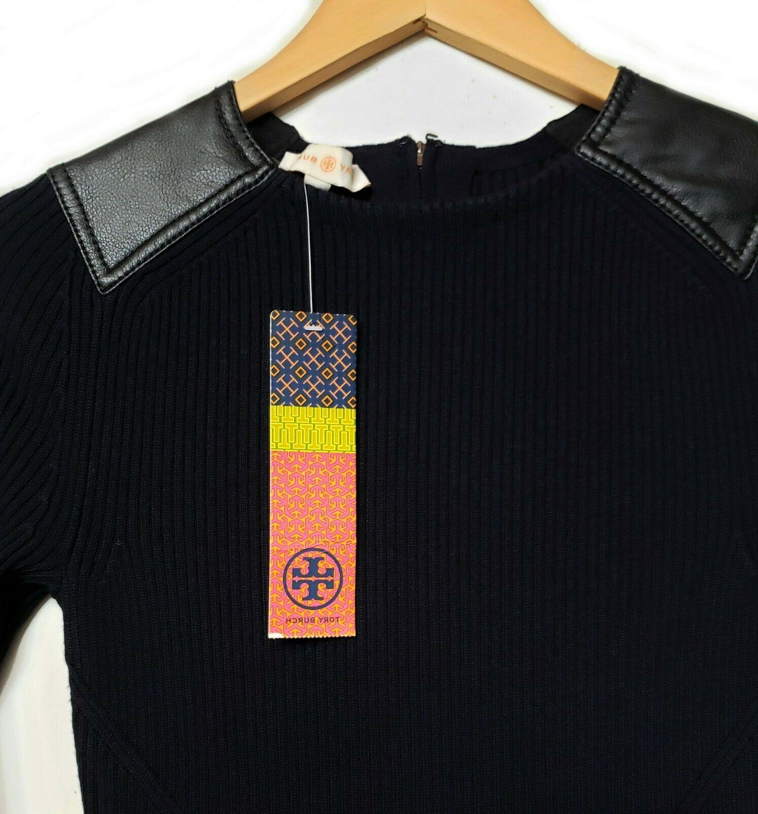 Tory Burch Robin Dress Knit Leather Details Size XS NEW