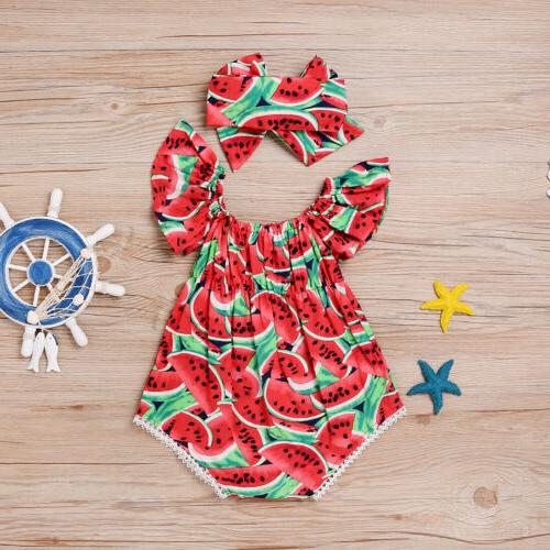 summer infant baby girls red watermelon romper