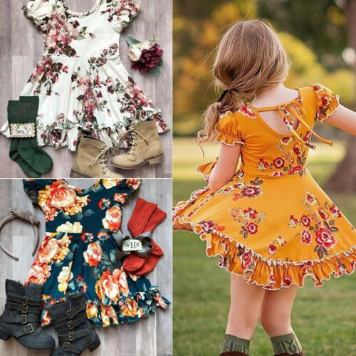 US Floral Toddler Kids Baby Girl Ruffle Short Sleeve Casual