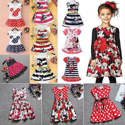 Kid Baby Girl Minnie Mouse Mini Dress Summer Cartoon Skirt P