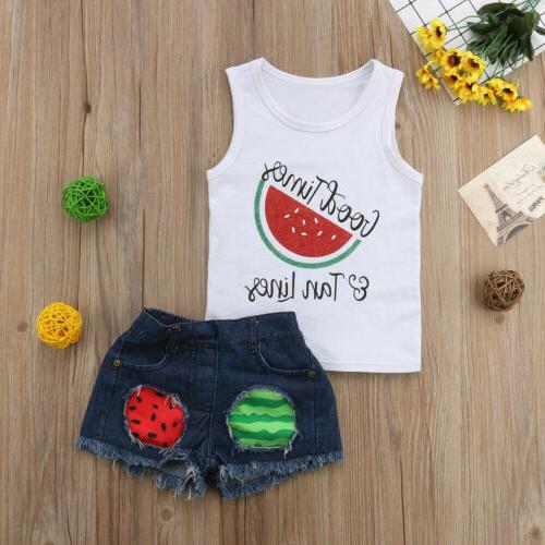 Toddler Kid Baby Clothes Tank Shirt Denim Outfit