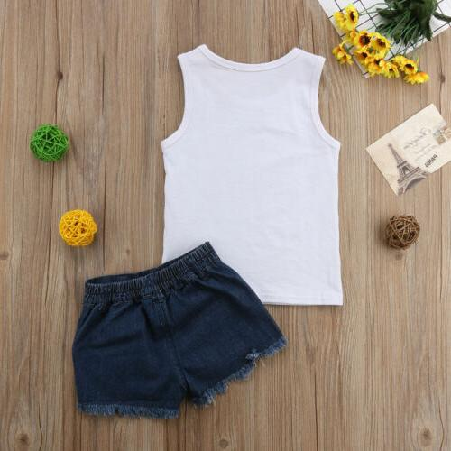 Toddler Kid Baby Girl Clothes Tops Shirt Denim Shorts Pants Outfit Set