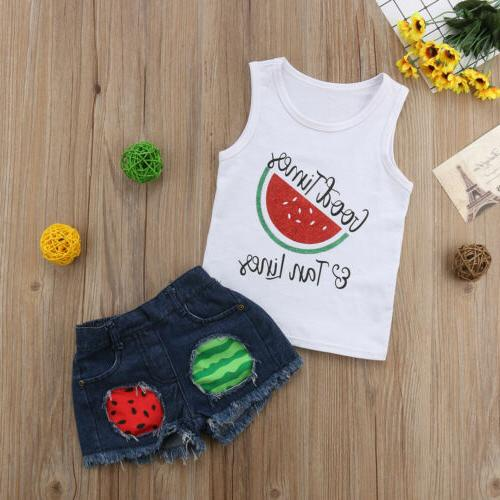 Toddler Baby Girl Clothes Shirt Denim Outfit Set