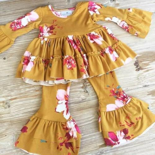 Toddler Kid Baby Girl Floral Ruffle Dress Tops T shirts Wid