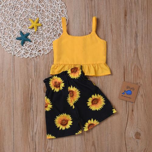 2Pcs Toddler Baby Summer Tops Shorts Outfit