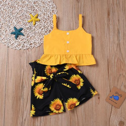 2Pcs Toddler Girl Summer Leisure Tops Outfit