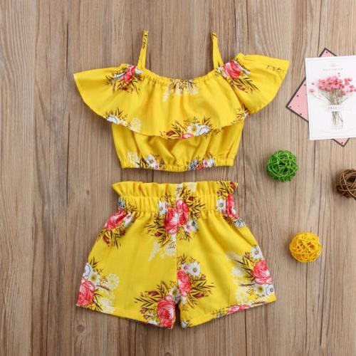 toddler kids baby girl floral outfits clothes